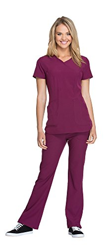 Ladies Eyelet String Top - HeartSoul Women's Cross My Heart Mock Wrap Top HS619 & Heartbreaker Drawstring Pant 20110 Scrub Set (Wine - X-Small/XSmall Petite)