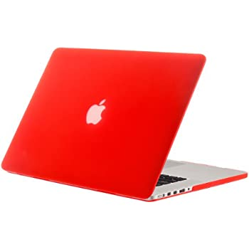 """Kuzy - Rubberized Hard Case for Older MacBook Pro 15.4"""" with Retina Display A1398 15-Inch Plastic Shell Cover - RED"""