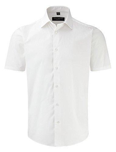 Russell Collection Short Sleeve Easy Care Fitted Shirt M White
