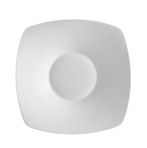 (CAC China SHA-CQ21 Sushia 11-Inch Super White Porcelain Coupe Square Salad Plate, Box of 12)