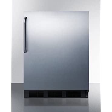 Summit CT663BBISSTBADA 24 ADA Compliant Undercounter Refrigerator with 5.1 cu. ft. Capacity Cycle Defrost Freezer and Stainless Steel Door/Black Cabinet/Towel Bar