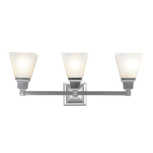 Brushed Nickel Livex Lighting 1033-05 Mission 3 Light Vanity Polished Chrome with Frosted Glass
