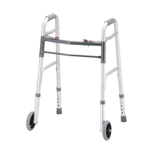 Silver Adult Standard Folding Walker - X-Small with 5 Inch Wheels - 1 Each/Each - 4090PW5 by NOVA Medical Products