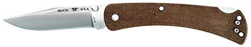 Buck Knives 0110BRS4 Folding Hunter Slim Pro Lockback Pocket Knife with Thumb Studs and Removable/Reversible Deep Carry Pocket Clip, Brown Micarta Handles, S30V Blade