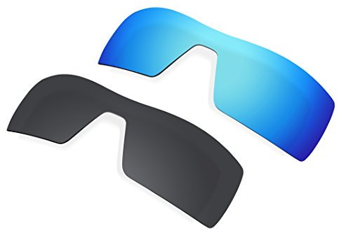 2 Pairs Lenses Replacement Polarized Blue & Black for Oakley Oil Rig - Oakleys Oilrig