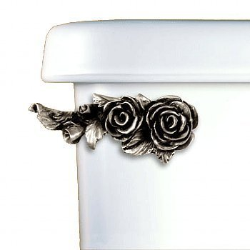 Functional Fine Art Decorative Roses Toilet Flush Lever Handle Front Tank Mount Satin Pewter Finish
