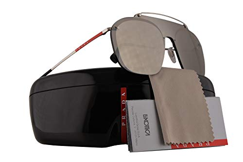 Prada PS51TS Sunglasses Silver w/Brown Mirror Gold Lens 37mm 1BC128 SPS51T PS 51TS SPS -