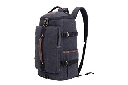 Eurosport Versatile Canvas Computer Bag Duffel Backpack Adjustable Straps Padded BLACK B718 (Eurosport Canvas Backpack)