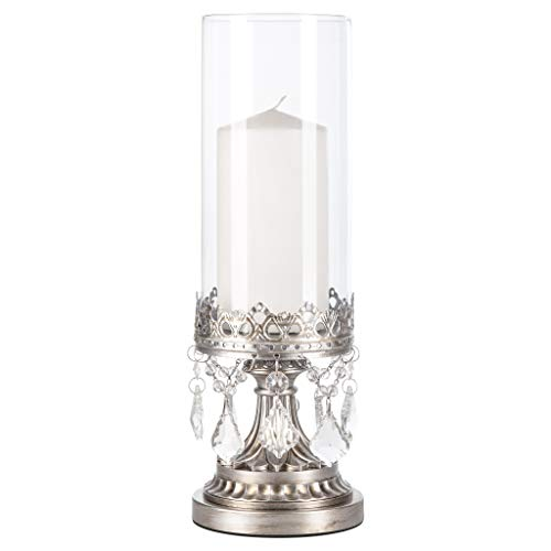 Amalfi Décor Antique Silver Metal Candle Holder Glass Hurricane Vase, Crystal Draped Pillar Stand Accent (Antique Hurricane)