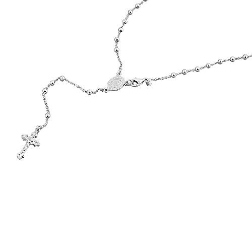 (Double Accent Rhodium Plated Sterling Silver Rosary Necklace 3mm Bead Cross Italian Rosary Chain (16