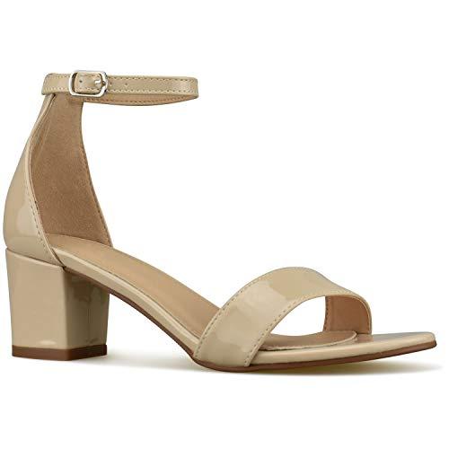 Bella Marie Women's Strappy Open Toe Block Heel Sandal, Nude Patent, Size 10