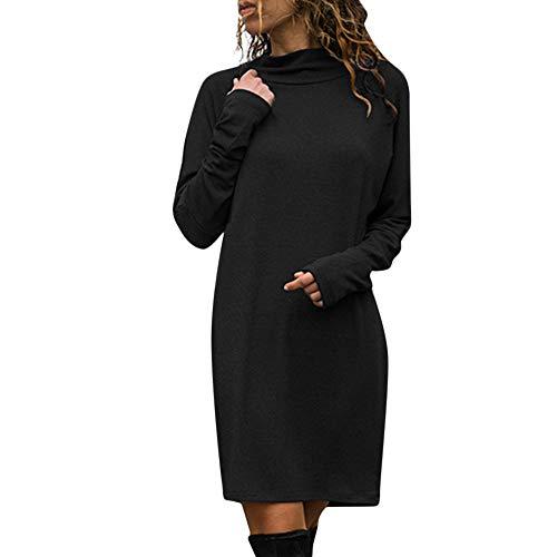 Women Casual Dress,Long Sleeve Round Neck Solid Sweatshirt Mini Knee Length Dresses by ()