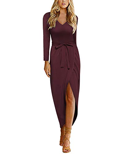 II ININ Women's Casual V Neck Dress Long Sleeve Solid Elastic High Waist Slit Long Wrap Maxi Dress for Fall Wedding Party(Dark Red,XL)