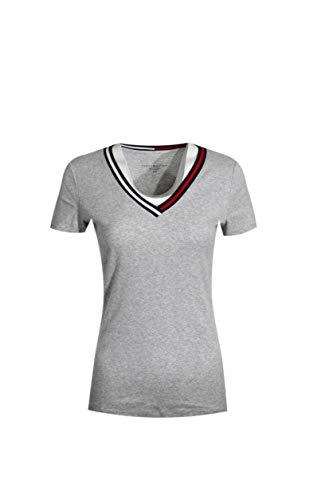 Tommy Hilfiger Women Signature Short Sleeve V-Neck Logo Tee (L, Grey) ()