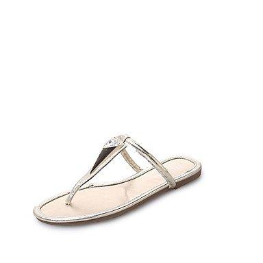 LvYuan Tacón Plano-Confort-Sandalias-Vestido Informal-PU-Negro Plata Oro Black