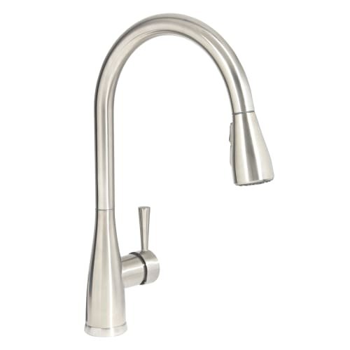Mirabelle MIRXCCA100 Calverton Pullout Spray Kitchen Faucet with High Arch Goose, Stainless Steel