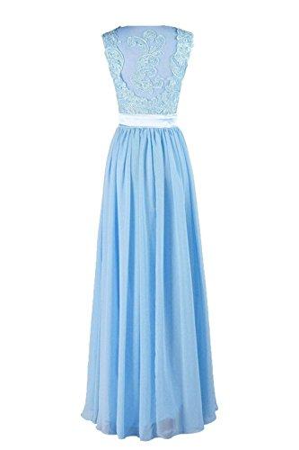 Neck Long Prom Lilac Bridal Dresses Lace Evening Bess Formal Women's V Chiffon XRfWx6qw