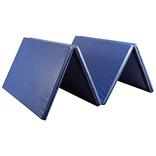 Easyzon Folding Gymnastics Mat Thick Exercise Tumbling 4 Panel Mat with Carrying Handle for Gym Fitness Exercise Aerobics, 4'x8'x2 (Blue)