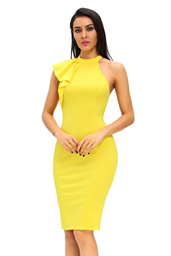 Women's Fashion One Shoulder Ruffle Sleeve Midi Bodycon Cocktail Party Dress Large Yellow
