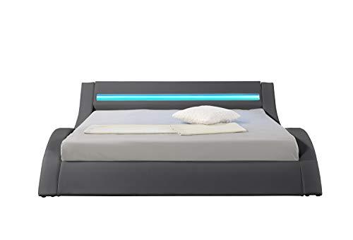 HYPNIA - Cama Design LED gris-180 x 200 (cm)