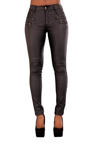 Crazy Lover Damen Kunstleder Leder Look Hosen Damen Biker Stretch Coated Jeans