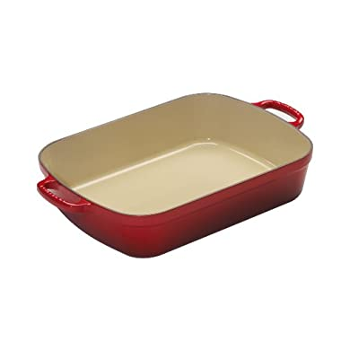Le Creuset Signature Cast Iron Rectangular Roaster, 7.0-Quart, Cerise (Cherry Red)
