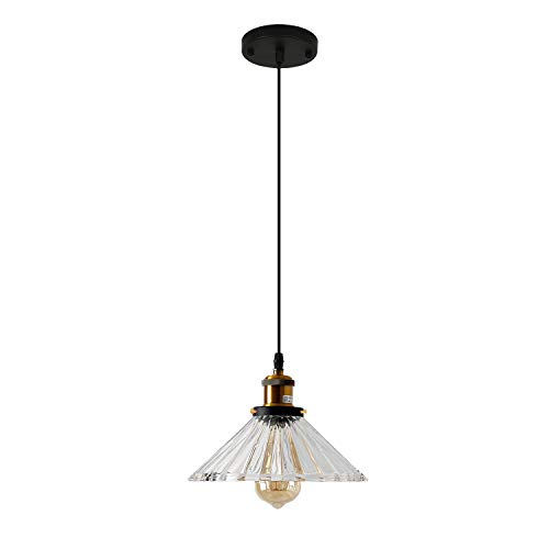 ECOBRT Pendant Light with Handblown Clear Crystal Glass Shade, Modern Ceiling Hanging Pendant Lights for Kitchen Island, Dining Room,Restaurants, Hotels, Shops 1-Pack -