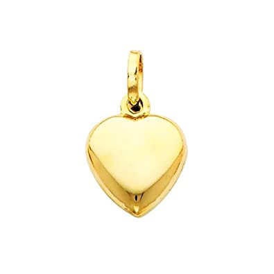 The World Jewelry Center 14k Yellow Gold Heart Pendant with 1.2mm Cable Chain Necklace
