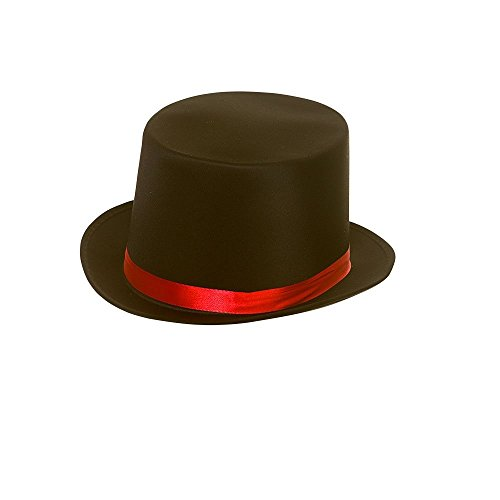 Adults Day of the Dead Black Satin Top Hat with Red Band Fancy Dress Accessory