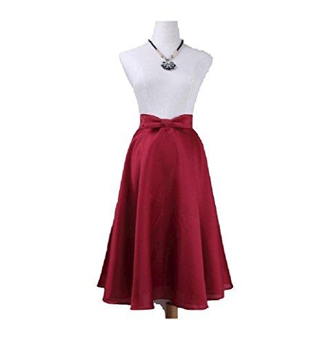Swing Haute mi Maxi Ligne Rouge Femmes des lgante Jupe A Taille Arc Jupe Jupe Jupe Femmes Oudan Longue wFqpxU6v7