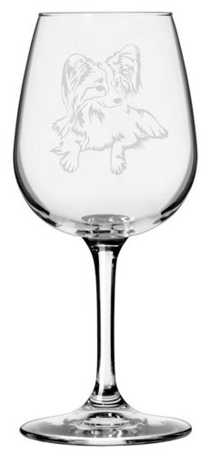 Papillon Dog Themed Etched All Purpose 12.75oz Libbey Wine Glass