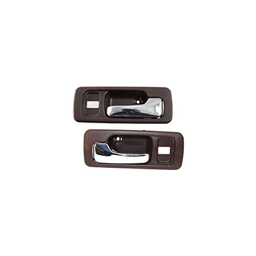 Interior Door Handles compatible with Set of 2 Front Left and Right Side Plastic Brown bezel W/chrome lever W/door lock hole (1993 Honda Accord Right Door)