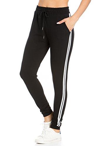 Comfy Stripes Pants (My Yuccie Women's Comfy Jogger Pants with Zipper Side Pockets (S - XL) (Black Stripe, X-Large))