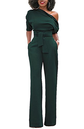 ONLYSHE Women's Sexy One Shoulder Solid Jumpsuits Wide Leg Long Romper Pants With Belt