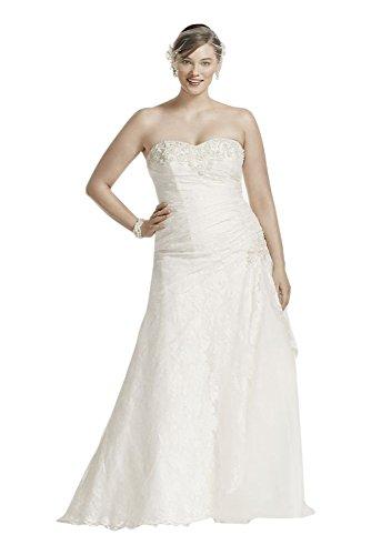 Lace A-line Side Split Plus Size Wedding Dress Style 9YP3344 – 14 Plus, Ivory