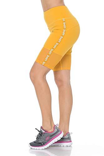 Auliné Collection Womens High Waist Activewear Running Yoga Workout Biker Shorts Love Mustard SM