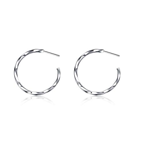 (POPLYKE Sterling Silver Small Circle Hoop Earrings,High Polished Twist Round Click-Top Hoop Earrings for Women Girls)