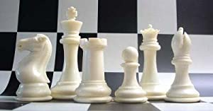"""Quadruple Heavy Weight Chess Set for Schools, Clubs and Tournaments - 34 Ivory/Black Pieces (2 Extra Queens), 4"""" Tall King, Green 20"""" x 20"""" Vinyl Roll-Up Board and Instructions on How to Play Chess"""