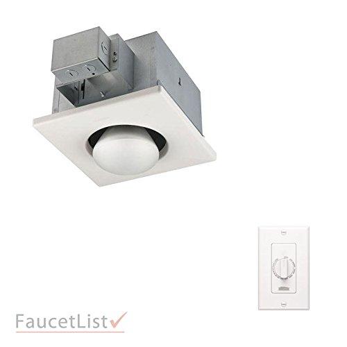 Broan Single Heater - Broan 161 Infrared Single-Bulb 250-Watt Heater for Spot Heating in Bathroom INCLUDES White 57W Variable Speed Wall Control Kit
