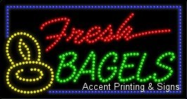 Fresh Bagels LED Sign (High Impact, Energy (Bagels Led Sign)