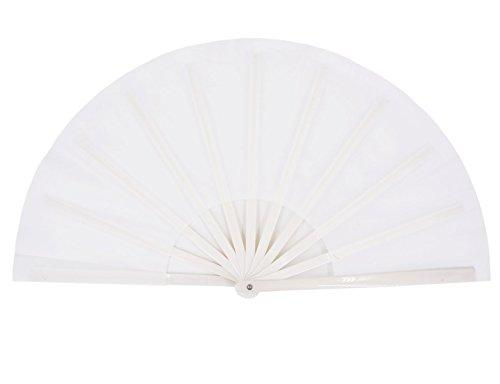 Amajiji Large Folding Fan, Chinease/Japanese Folding Nylon-Cloth Hand Fan, Women Hand Folding Fans Hand Fan Gift fan Craft fan Folding Fan Dance Fan (White)