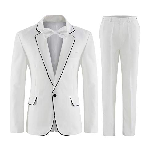 Frank Men's One Button Notch Lapel White Suit Jacket Pants Wedding Suits Groom Tuxedos]()