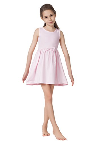 CAOMP Girls Casual Sleeveless Swing Dress, Organic Cotton, Spandex, Scoop Neck, Tagless, 13-14, Pink -