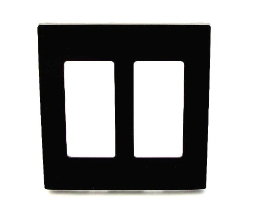 (Leviton 80309-SE 2-Gang Decora Plus Wallplate Screwless Snap-On Mount, Black)