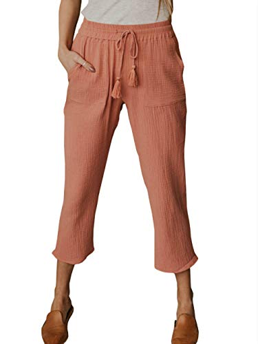 Women's Elastic Waist Cargo Casual Drawstring Pants Ankle Length Jogger Cropped Trousers with Pockets (O, Medium)