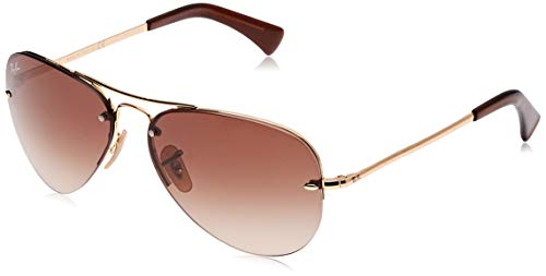 RAY-BAN RB3449 Aviator Sunglasses, Gold/Brown Gradient, 59 mm (Baby Ban Sunglasses)