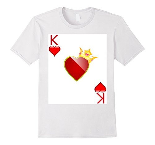 King Of Hearts Costumes For Adults (Mens Halloween Costume TShirt Couple Great King Queen Hearts 2XL White)