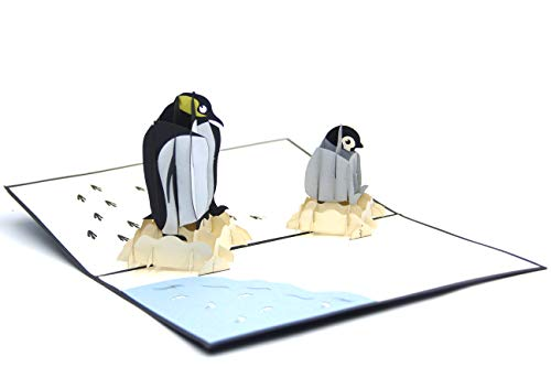 (Love Penguin Family 3D Paper Pop-up Greeting Card Holiday)