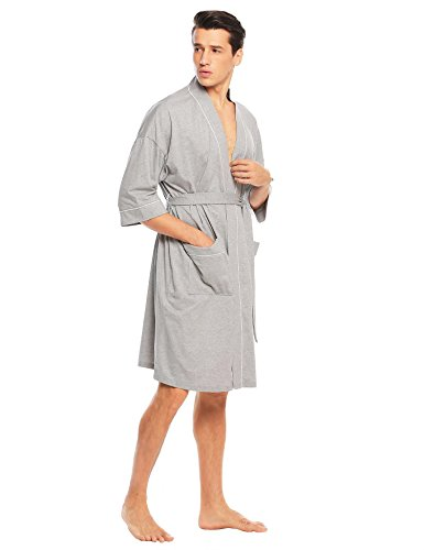 Aimado Mens Spa Hotel Bathrobe Cotton Loungewear 3/4 Sleeve Kimono Robe M-XXXL free shipping