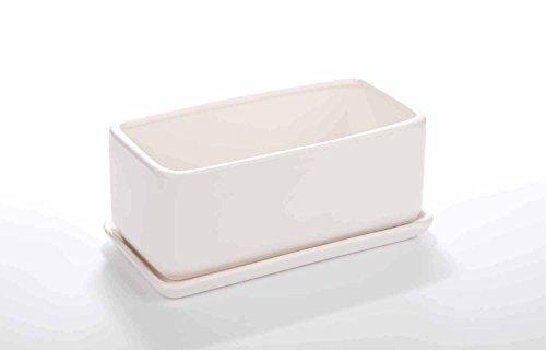 Vencer VF-001W White 10 inch Rectangular Modern Minimalist White Ceramic Succulent Planter Pot - Window Box with - Window Pot